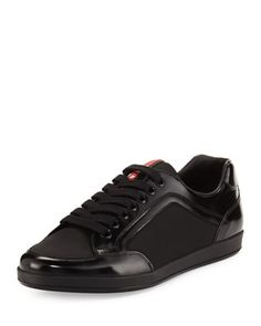 Nylon & Patent Leather Low-Top Sneaker, Black by Prada at Neiman Marcus.