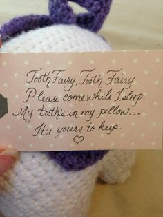 Cute saying to put with the tooth fairy pillow