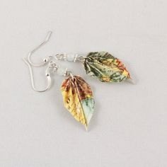 Upcycled Map Origami Leaf Earrings Repurposed by folditcreations