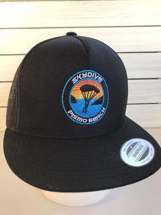d1b5cadcf2e Pismo Beach Skydive Trucker Mesh Ball Cap Hat Snapback Flat Bill Black   Yupoong  Truckermeshballcap
