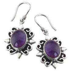"""Intricately scrolled silver sunburst hook earrings with cabuchon cut AMETHYST;  3cm / 1 1/4"""" long; made by Rabi in Nepal"""