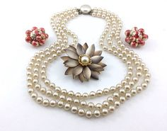 Pretty Vintage Jewelry Lot 3 strand creamy vintage pearls vintage  flower brooch Hong Kong cluster bead earrings. Red and Gold. by TheOldJunkTrunk