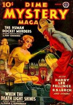 Dime Mystery Magazine - The Human Rocket Murders, Pulp Fiction Magazine Cover