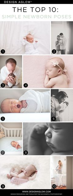The Top 10: Simple Newborn Poses | Photo credits:  Allison Corrin Photography (1), Christina Block Photography (2, 5, 6, 7, 10), Jenny Cruger Photography (3), Candice Wong Photography (4, 9), Aimee Cook Photography (8)