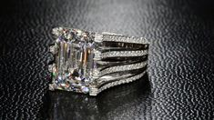 Diamond Rings A magnificent setting for this beautiful emerald cut diamond by Bez Ambar. - Bez Ambar, the inventor of the princess cut diamond, creates beautiful custom engagement rings and fine jewelry in Los Angeles. Diamond Rings, Diamond Jewelry, Gold Jewelry, Jewelry Rings, Jewelry Accessories, Fine Jewelry, Gold Bracelets, Gold Rings, Emerald Rings
