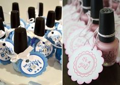 Favors - different tags for gender reveal shower...