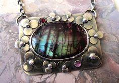 Rainbow Labradorite Sterling Silver Flower by TheRedPoppyShop