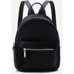 SheIn(sheinside) Black Velvet Front Zipper Backpack ($26) ❤ liked on Polyvore featuring bags, backpacks, black, daypack bag, rucksack bags, knapsack bag, backpack bags and velvet backpack