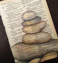 The Lord is my Rock! Vintage Bible page, ink, Prismacolor pencils  Artist: Lorrie Bennett