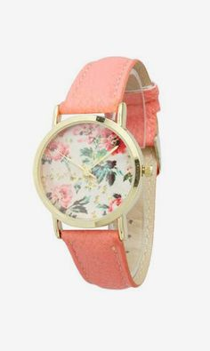 Coral Petite Floral Watch