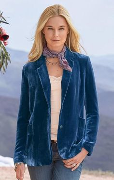 098c71bc90 Our  Taysha  blazer entices with luxe velvet in a boyfriend-style fit.