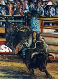 Bull Rider, fine art giclee reproduction, original oil painting, western art, rodeo art, Glenda Okiev via Etsy