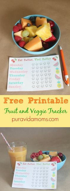 Printable fruit and veggie tracker to track your nutrition goals. #ad #NourishInNoTime #SnackWithPurpose