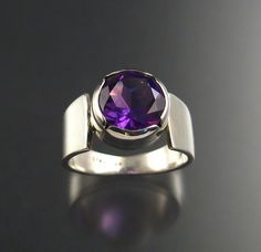 Amethyst 10 mm round ring Sterling size 8 1/2 by stonefeverjewelry, $225.00
