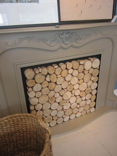 Cut wood to fill a non working fireplace. - For farm Decor, Wood, House, Home, Fireplace Cover, Home Improvement, Redecorating, Inspiration, Fireplace