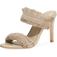 Joie Poppi Fringe Strappy Slide Mule ($139) ❤ liked on Polyvore featuring shoes, grey, grey leather shoes, open toe mules shoes, leather mules, grey shoes and fringe shoes