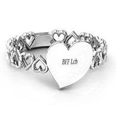 Engravable Cut Out Hearts Bridesmaids Ring #jewlr