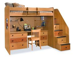 Berg Furniture Utica Twin Dorm Loft Bed with Stairs Clever idea for smaller spaces