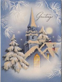 Vintage-Greeting-Card-Christmas-Landscape-Church-Steeple-Glitter-1940s-v919