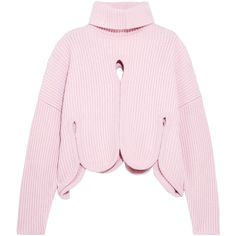 Antonio Berardi Scalloped cutout wool-blend turtleneck sweater (13.916.200 IDR) ❤ liked on Polyvore featuring tops, sweaters, pink, color block sweater, turtle neck top, colorblock turtleneck sweater, pink top and pink sweater