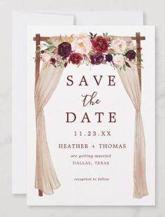 Shop Bohemian Marsala Burgundy Floral Arch Save The Date created by SweetRainDesign. Winter Wedding Colors, Winter Weddings, Fall Wedding Arches, Wedding Venue Inspiration, Wedding Ideas, Bohemian Wedding Decorations, Floral Save The Dates, Floral Arch, Destination Wedding Invitations