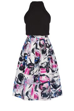 This sleeveless midi dress features a high neck, nipped in waist and structured midi skirt with all-over brushstroke print