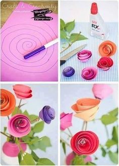 DIY Paper Spiral Rose and Decoration-flower bouquet How To Make Paper Flowers, Large Paper Flowers, Paper Flower Wall, Tissue Paper Flowers, Diy Flowers, Fabric Flowers, Papier Diy, Fleurs Diy, Paper Flower Tutorial