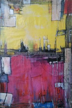 Original large Abstract - fuchsia & yellow FREE SHPPING by AbstractArtDesigns on Etsy