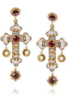 Dolce & Gabbana|Gold-plated Swarovski crystal cross clip earrings|NET-A-PORTER.COM