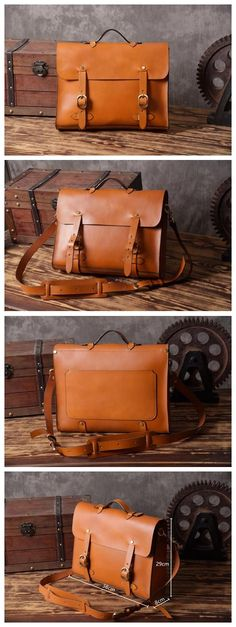 Handmade Vintage Genuine Leather Briefcase Handbag Messenger Laptop Bag 14148
