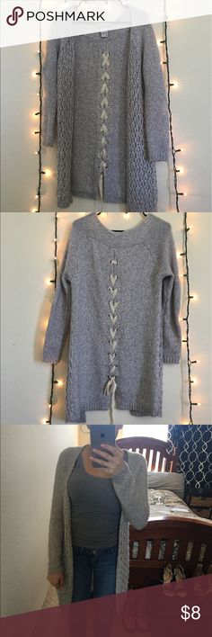Gray Cardigan This is a Grey Cardigan with cute bow features in the back. Size S. In excellent condition Sweaters Cardigans