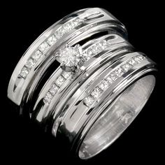 Three Piece Wedding Set 14K White Gold 0.95 cts. JRX-29160 [JRX-29160] - $1,299.99 : Diamonds, Engagement Rings, Wedding Bands, His and Hers Sets, America's Largest Engagement Ring and Wedding Band Distributor.