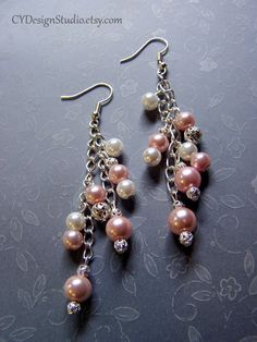 Unique Handmade Pink Glass and Cultured Pearl Cluster Beaded Chain Earrings. $16.00, via Etsy.