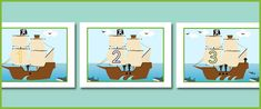 Here's a number line from 1-0 with a pirate theme. Each Number is depicted on the sail of a pirate ship and pictured around the ship are quantities of sharks, birds, clouds, pirates, waves and cannons that match that number.