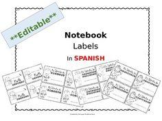 **EDITABLE** NOTEBOOK LABELS IN SPANISH - TeachersPayTeachers.com