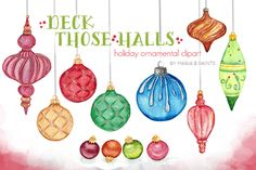 Watercolor Clip Art - Ornaments by Maria B. Paints on Creative Market