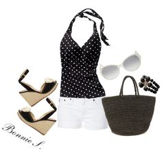 black & white... I have the shoes, top, and bracelet... now I just need white shorts and this black bag.  Let the shopping begin!