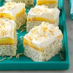Coconut Poppy Seed Cake Recipe -This moist coconut cake is definitely one of my most-requested desserts. Use different cake mixes and pudding flavors for variety. —Gail Cayce, Wautoma, Wisconsin