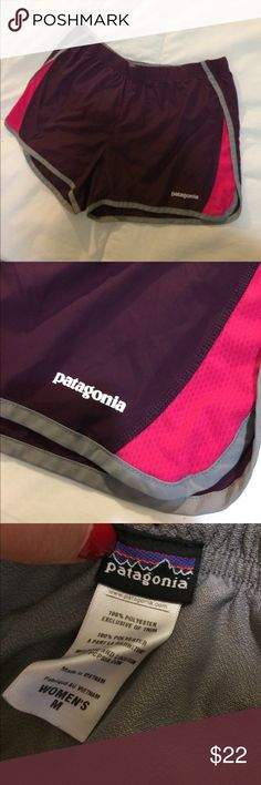 Patagonia athletic outdoor shorts woman's size M Very nice athletic workout outdoor shorts. Woman's size medium. Maroon/purple with pink accents. Elastic drawstring waist. Lined. Patagonia Shorts