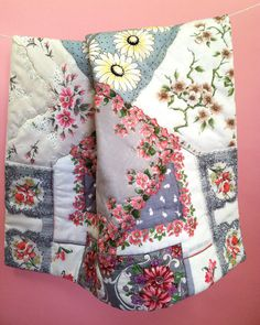 HANKY BLANKY, patchwork quilt of vintage flowery handkerchiefs,  pinks and greys, roses, daisies, dogwood blooms