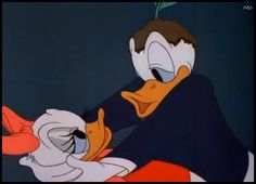 "donald and daisy duck | Daisy and Donald Duck smooch in ""Donald's Dilemma"" (1947) - Walt ..."