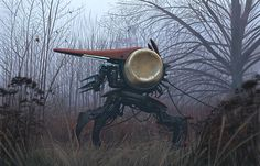 """Guldklockan"" by Simon Stålenhag Amazing Paintings, Paintings For Sale, Warrior Drawing, Sci Fi Environment, Drawing Projects, Drawing Tips, Photo Sketch, Found Object Art, Science Fiction Art"
