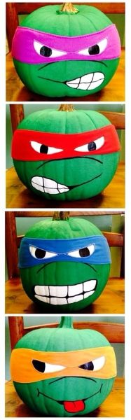 Both the pumpkin and stone idea are perfect for outdoor decorations No Carve Ninja Turtle Pumpkins for Halloween! (Kids love them)