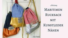 Ob Shopping Tour oder Käptn's Dinner: Mit unserer Anleitung kannst du ganz einfach einen supercoolen maritimen Rucksack mit Kunstleder nähen!