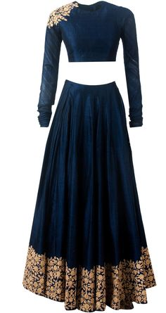 Ridhi Mehra, Navy blue embroidered lehnga available only at Pernia's Pop-Up Shop. Indian Bridal Wear, Indian Wear, Indian Style, Indian Dresses, Indian Outfits, Salwar Kameez, Bollywood, Desi Wear, Lehenga Choli