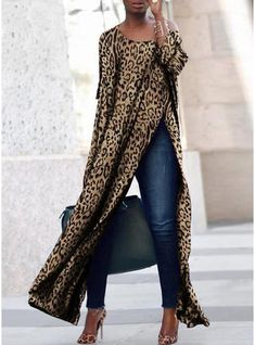 Three-quarter Sleeves on Both Sides Loose Casual Leopard Print Dress Casual Dresses, Casual Outfits, Fashion Dresses, Cute Outfits, Looks Street Style, Fashion Prints, African Fashion, Dresses With Sleeves, Sleeve Dresses