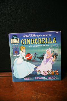 Vintage Cinderella Read Along Book Disneyland Record and