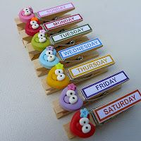 little clay corner: Lovely Decorated Clothespins