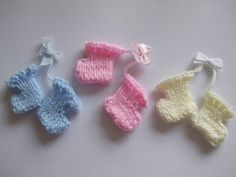 Hand knitted baby booties embellishment for baby cardmaking £3.00
