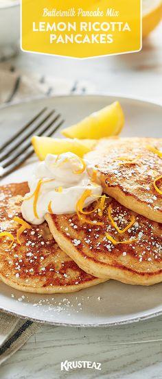 Lemon Ricotta Pancakes Made With Krusteaz Organic Buttermilk Pancake Mix Fancy Pancake Recipe, Krusteaz Recipes, Lemon Ricotta Pancakes, Crepes, Waffle Recipes, Pancake Recipes, Griddle Cakes, Pancakes And Waffles, Morning Food